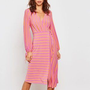 Topshop Faux Wrap Striped Knee Length Dress NWT